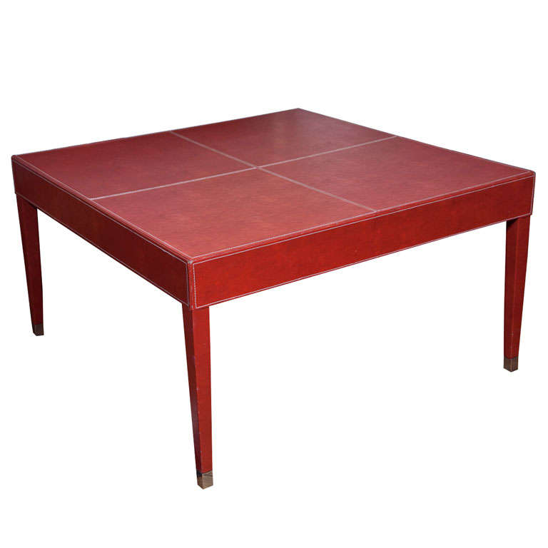 Red Leather Covered Cocktail Table At 1stdibs