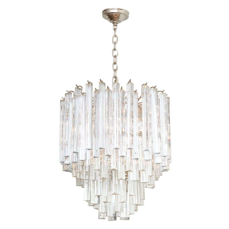Sparkling Multi Tiered Venini Crystal Prism Chandelier at