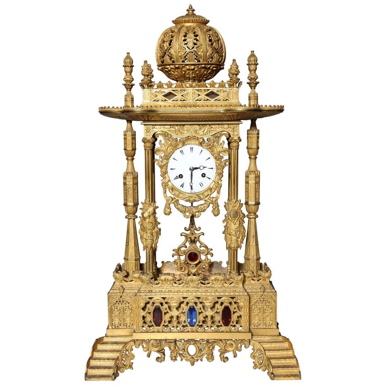 Important French Orientalist Jeweled Clock for Turkish Market, YSL Collection For Sale