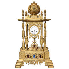 Important French Orientalist Jeweled Clock for Turkish Market, YSL Collection