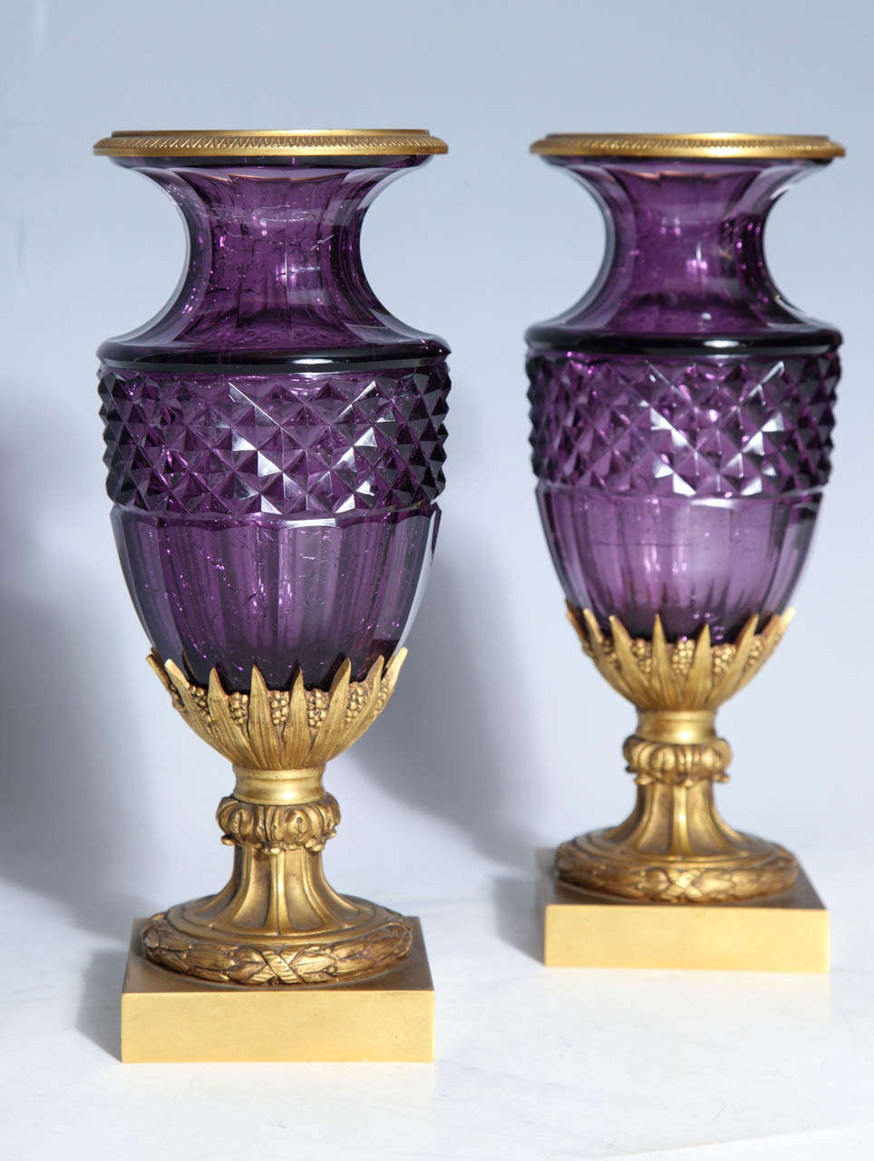 Neoclassical Revival Fine Pair of Antique Russian Amethyst Cut Crystal Vases in Dore Bronze Mounts For Sale