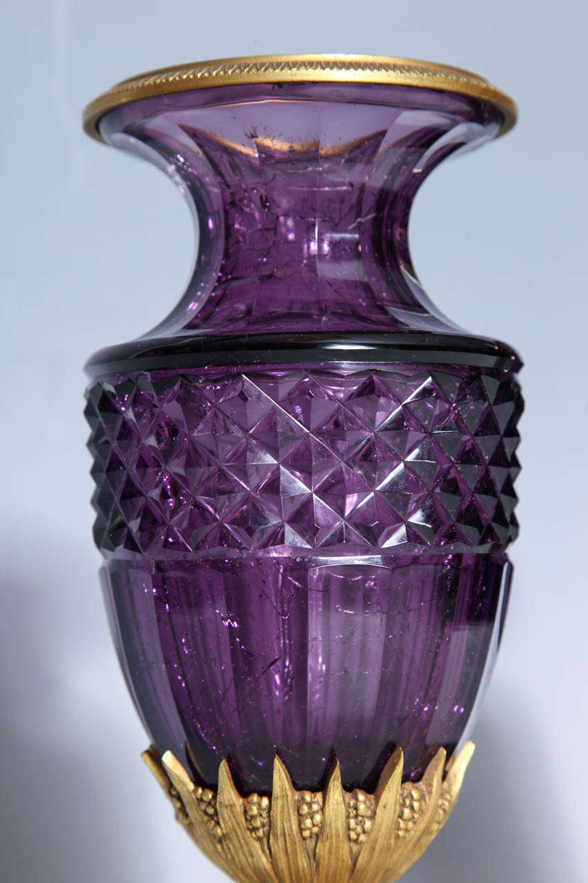 Fine Pair Of Antique Russian Amethyst Cut Crystal Vases In