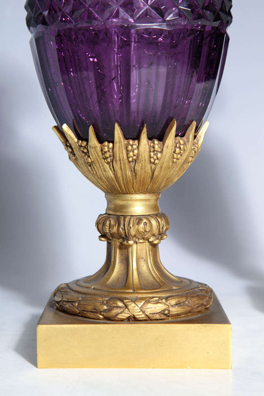 Fine Pair of Antique Russian Amethyst Cut Crystal Vases in Dore Bronze Mounts In Excellent Condition For Sale In New York, NY