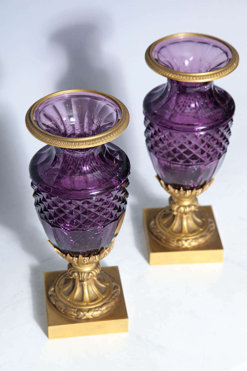 19th Century Fine Pair of Antique Russian Amethyst Cut Crystal Vases in Dore Bronze Mounts For Sale
