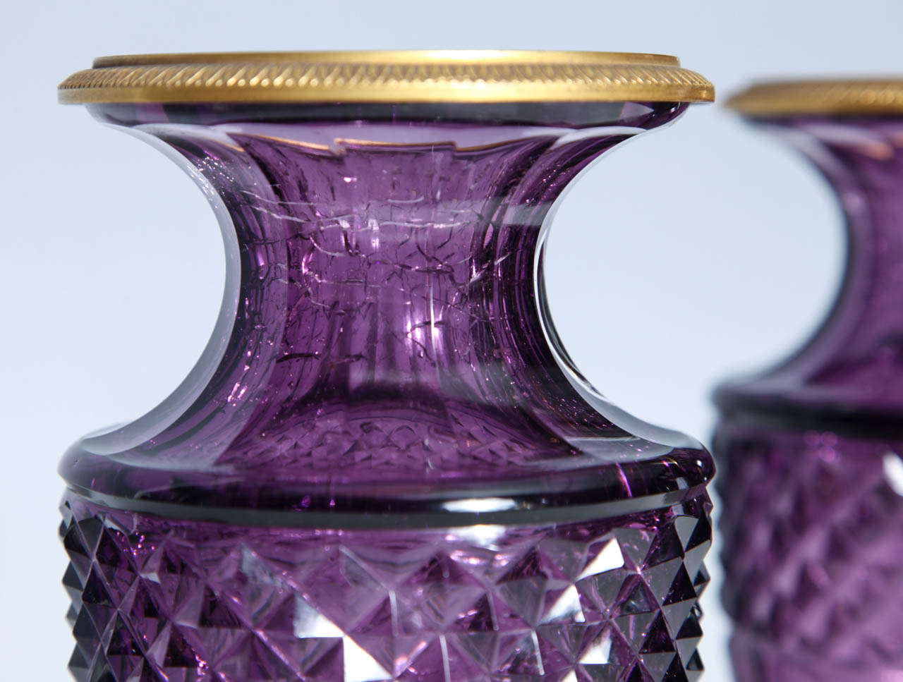 Fine Pair of Antique Russian Amethyst Cut Crystal Vases in Dore Bronze Mounts For Sale 1