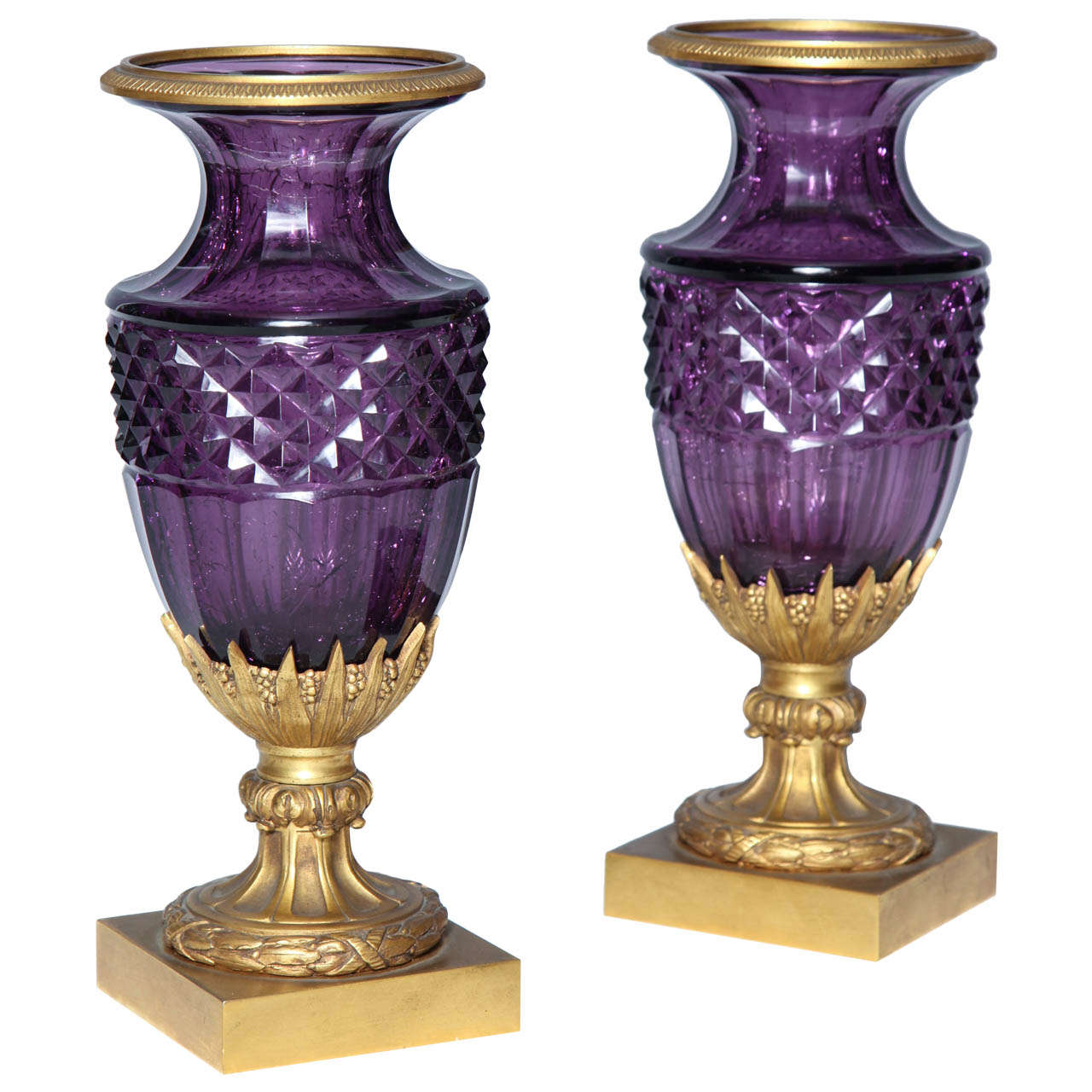 Fine Pair of Antique Russian Amethyst Cut Crystal Vases in Dore Bronze Mounts For Sale