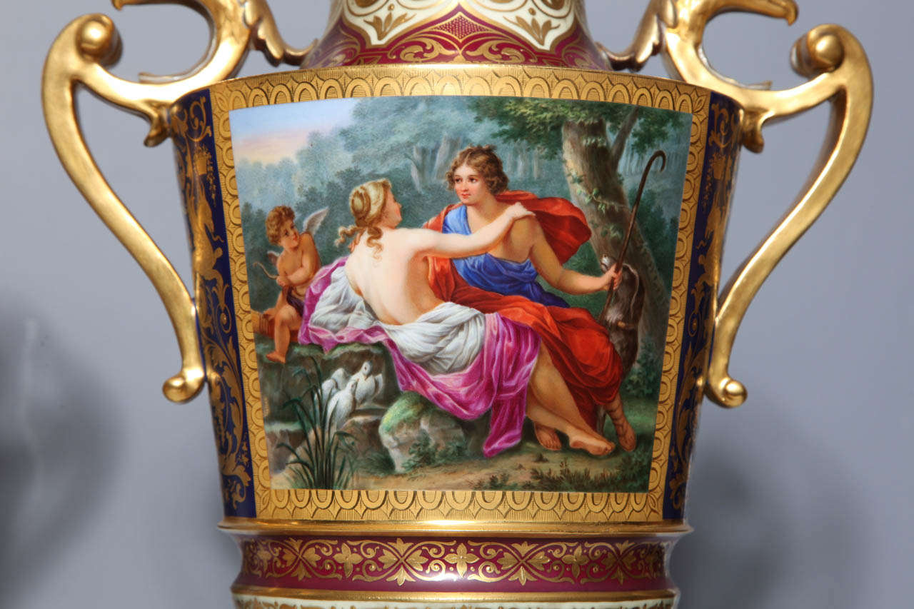 Neoclassical Magnificent Pair Royal Vienna Porcelain Covered Urns on Stands with Eagles For Sale