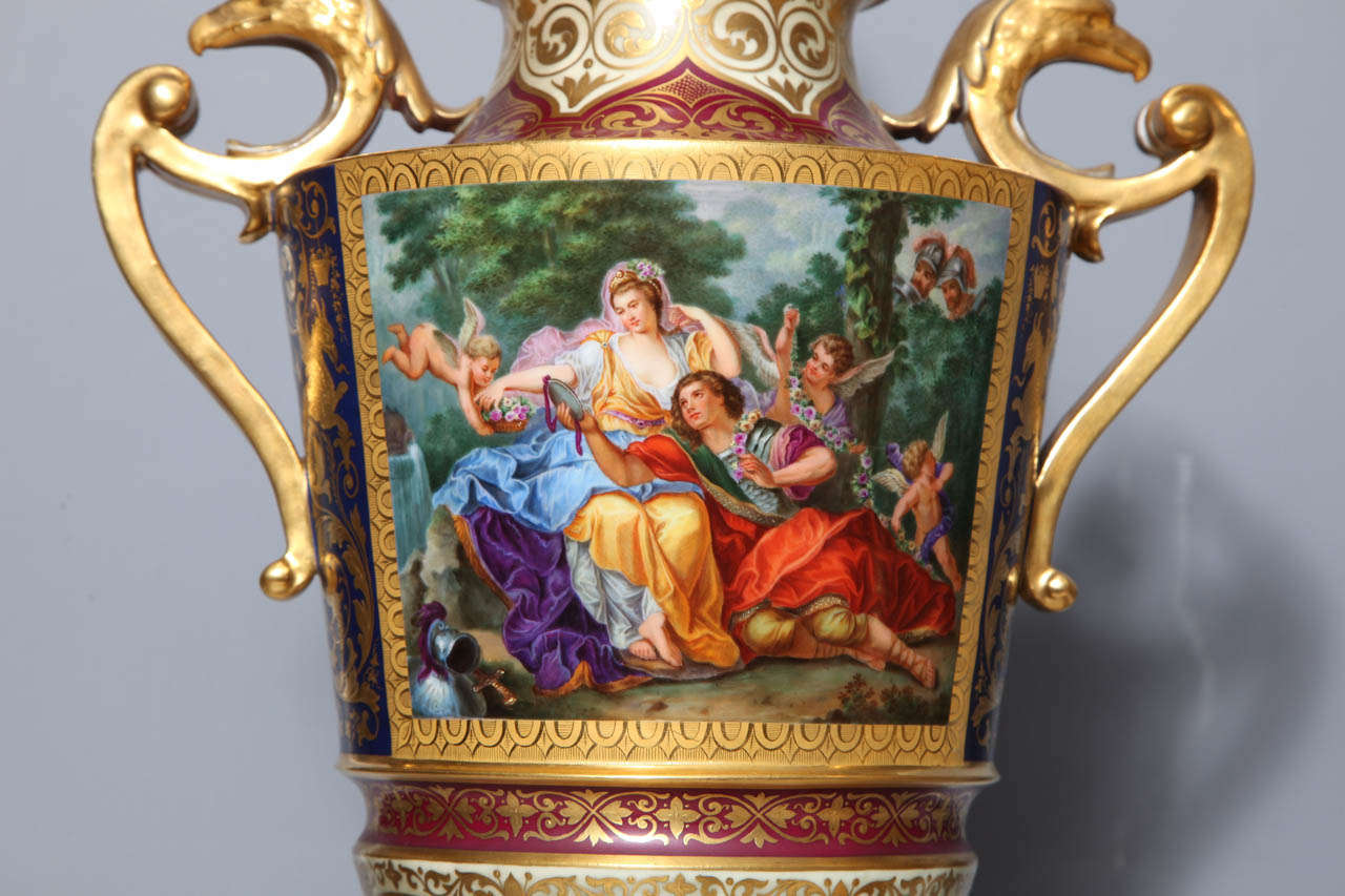 Austrian Magnificent Pair Royal Vienna Porcelain Covered Urns on Stands with Eagles For Sale