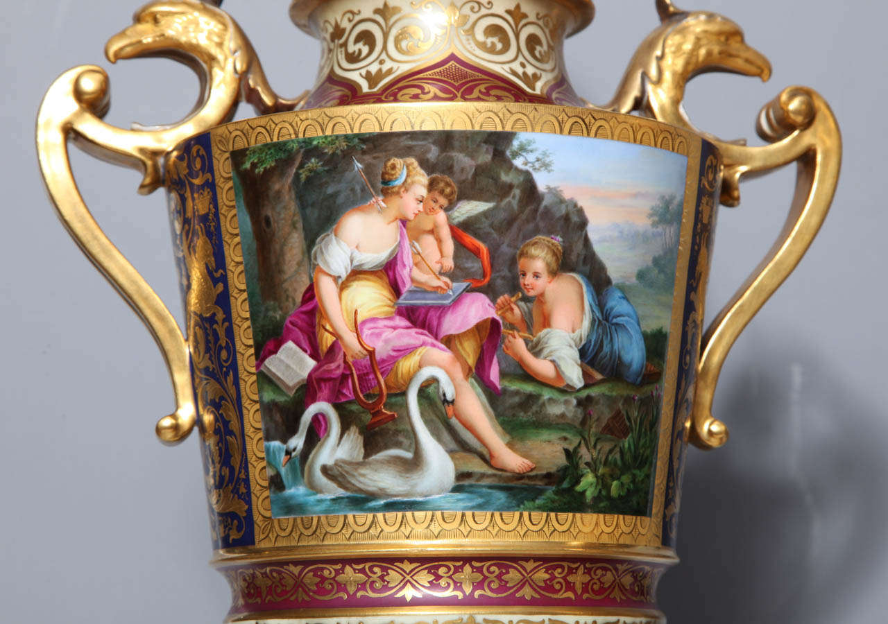 19th Century Magnificent Pair Royal Vienna Porcelain Covered Urns on Stands with Eagles For Sale