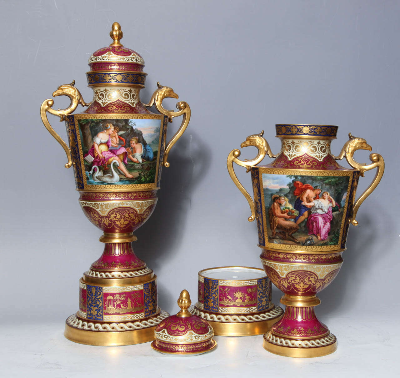 Gold Magnificent Pair Royal Vienna Porcelain Covered Urns on Stands with Eagles For Sale