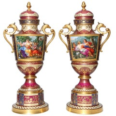 Magnificent Pair Royal Vienna Porcelain Covered Urns on Stands with Eagles