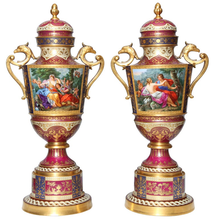 Magnificent Pair Royal Vienna Porcelain Covered Urns on Stands with Eagles For Sale