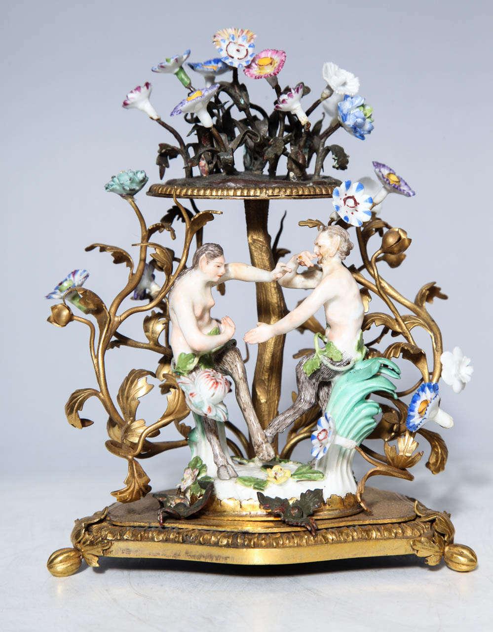 German Pair of 18th Century Meissen Porcelain Groups in Dore Bronze Mounts, circa 1770 For Sale