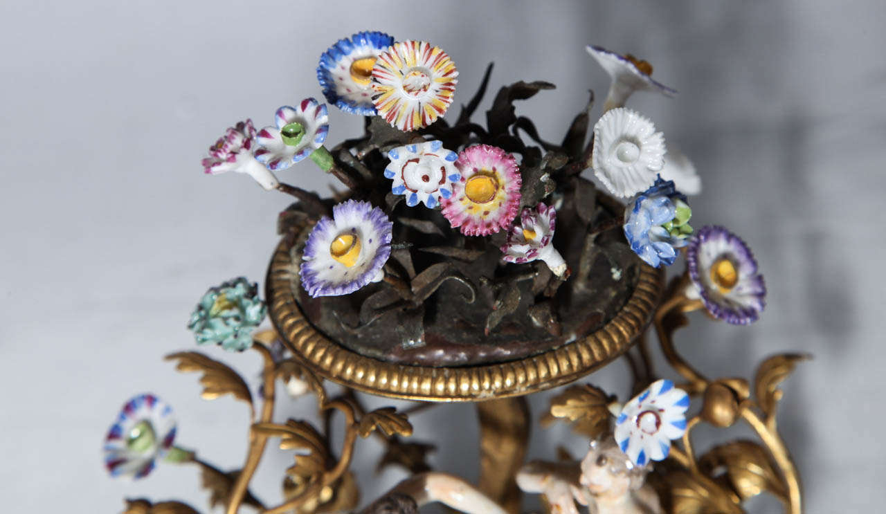 Pair of 18th Century Meissen Porcelain Groups in Dore Bronze Mounts, circa 1770 For Sale 1