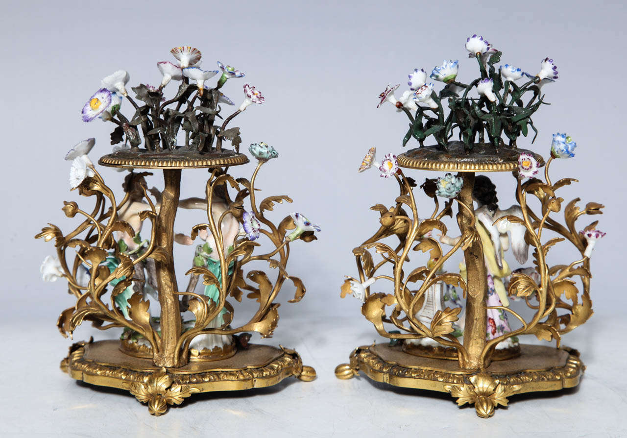 Pair of 18th Century Meissen Porcelain Groups in Dore Bronze Mounts, circa 1770 For Sale 2