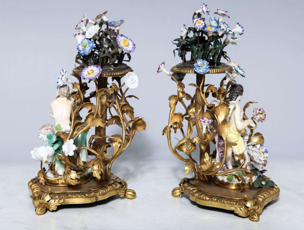 Pair of 18th Century Meissen Porcelain Groups in Dore Bronze Mounts, circa 1770 For Sale 3