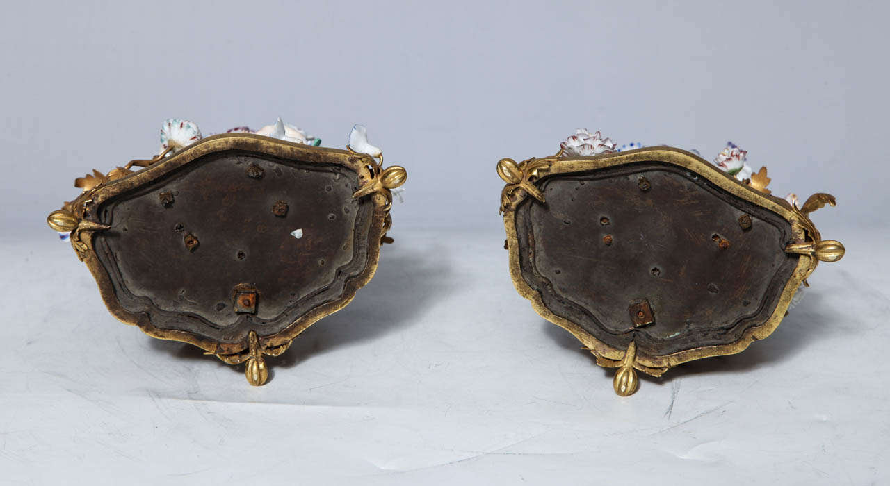 Pair of 18th Century Meissen Porcelain Groups in Dore Bronze Mounts, circa 1770 For Sale 5