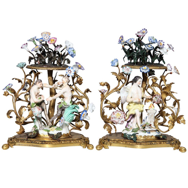 Pair of 18th Century Meissen Porcelain Groups in Dore Bronze Mounts, circa 1770 For Sale