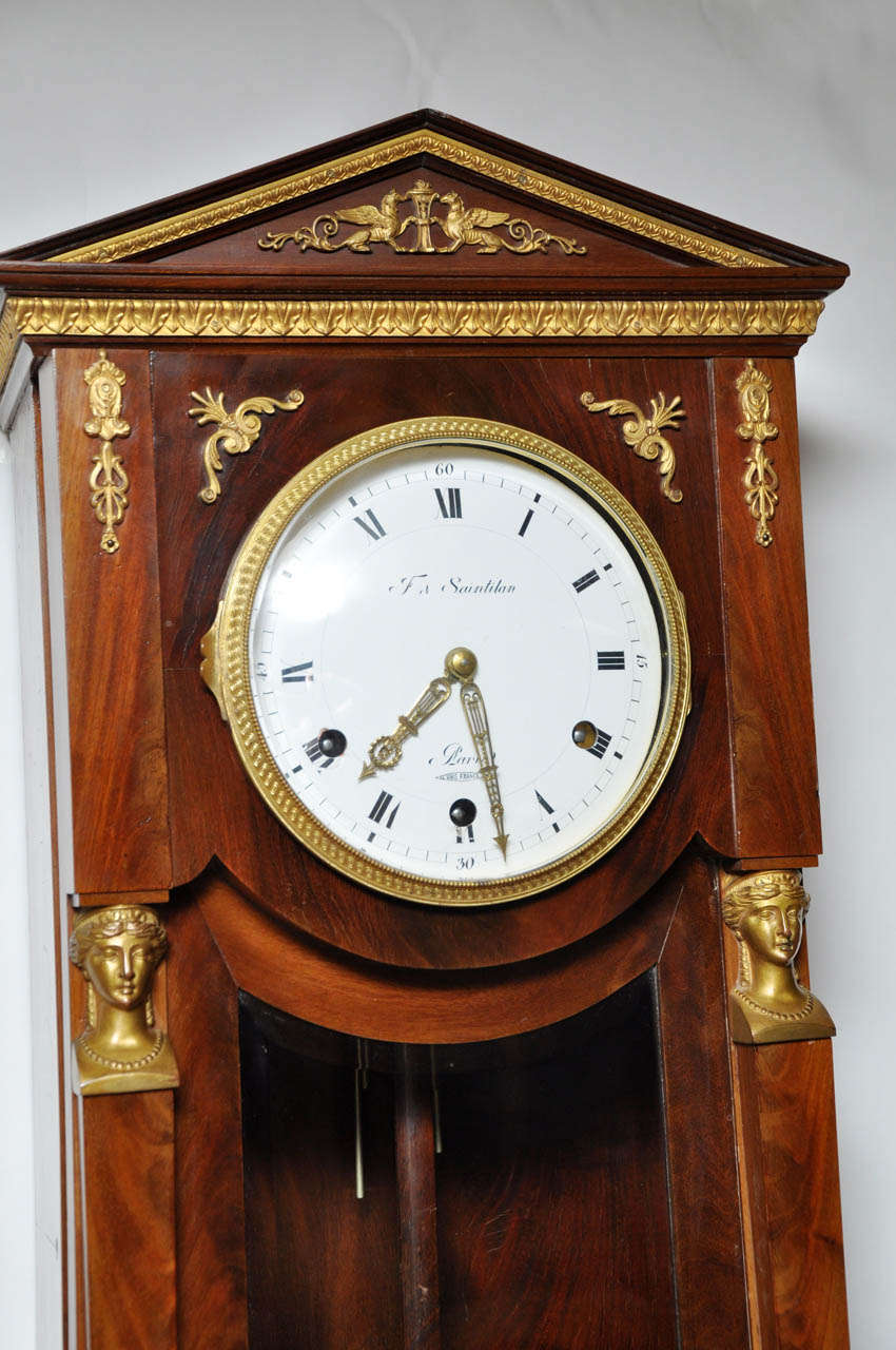 Second Empire French Mahogany Style Westminster Chime Wall Clock For
