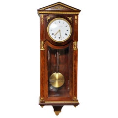 Empire Style Mahogany Westminster Wall Clock with Gilt Bronze, France, 1880