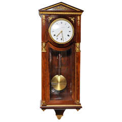 French Mahogany Empire Style Westminster Chime Wall Clock