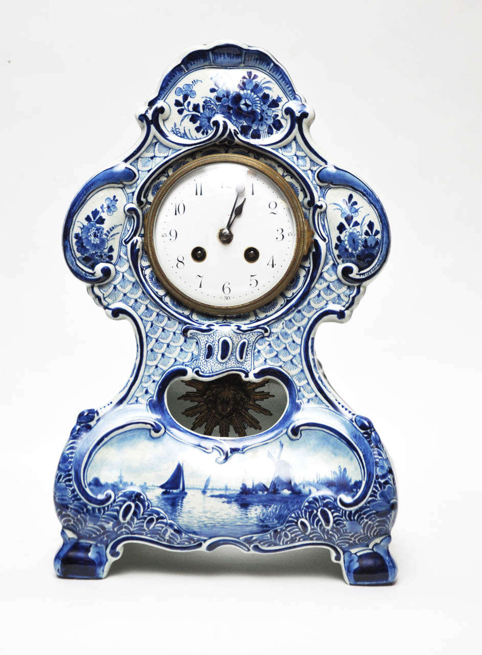 Delft Porcelain Mantel Clock For Sale At 1stdibs