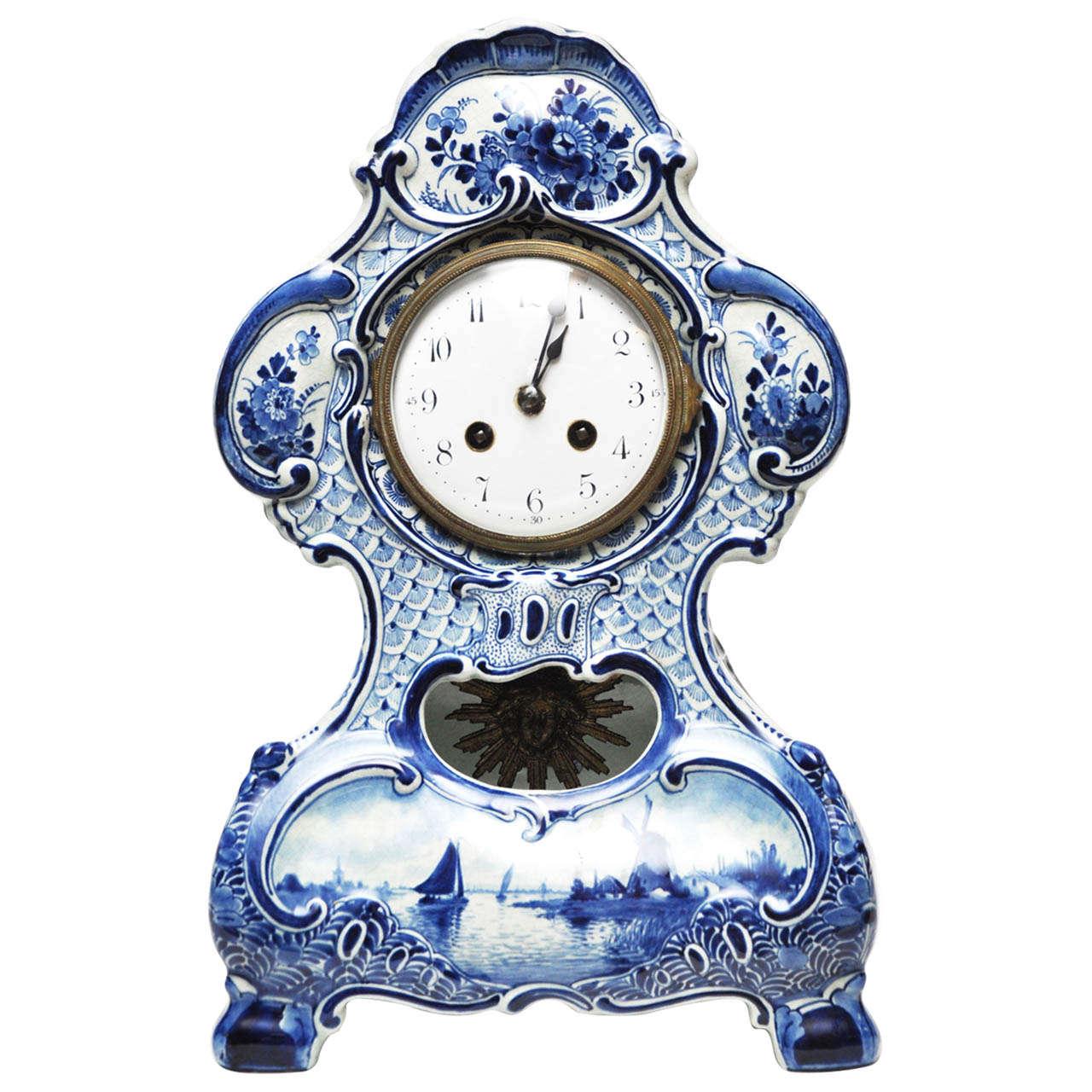delft porcelain mantel clock 1 - Mantel Clock