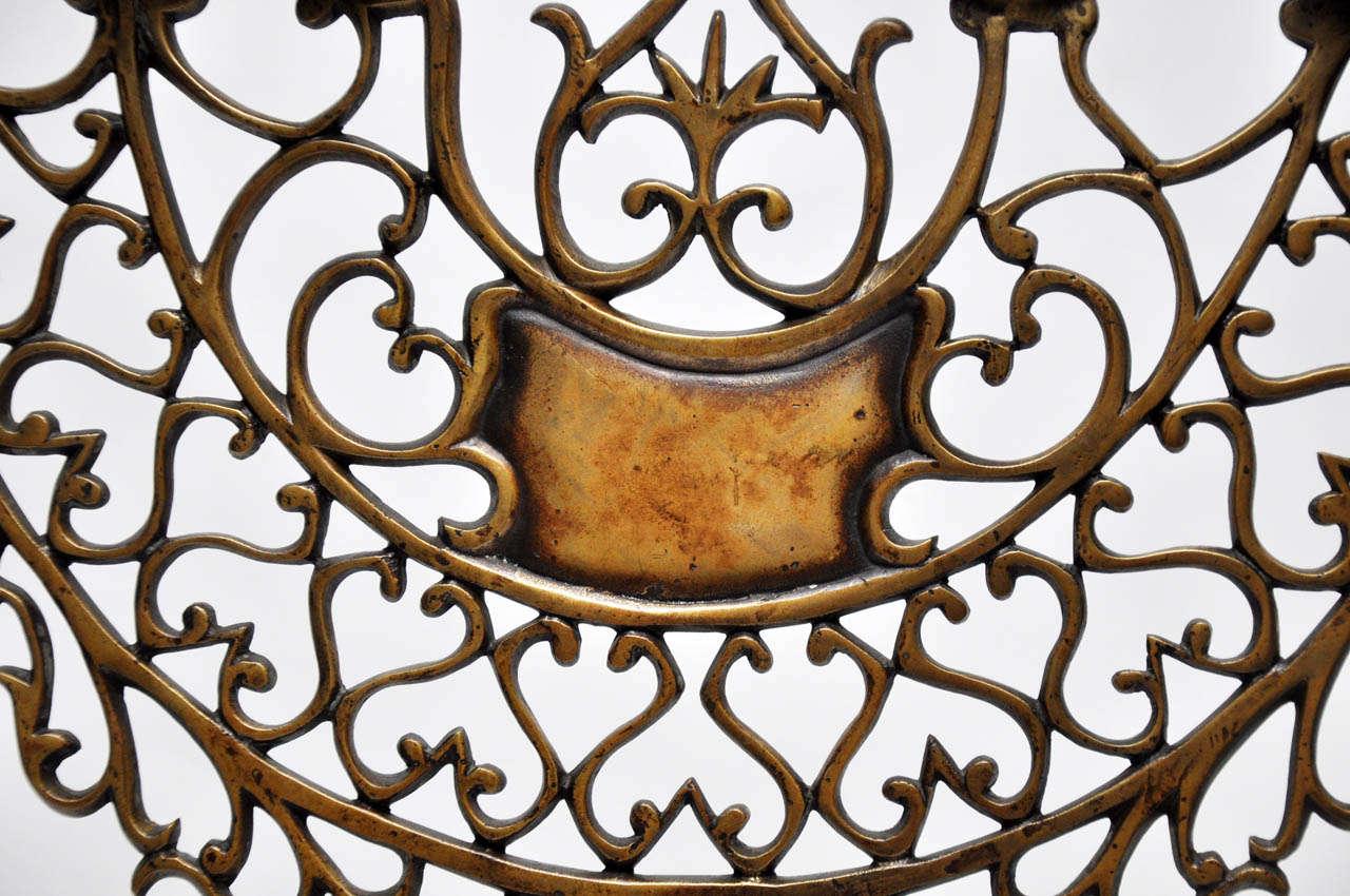 Polish Pair of 19th Century Bronze Synagogue Menorahs For Sale