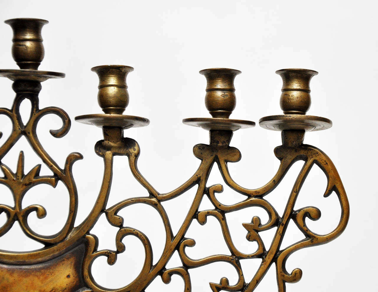 Pair of 19th Century Bronze Synagogue Menorahs In Good Condition For Sale In Chicago, IL