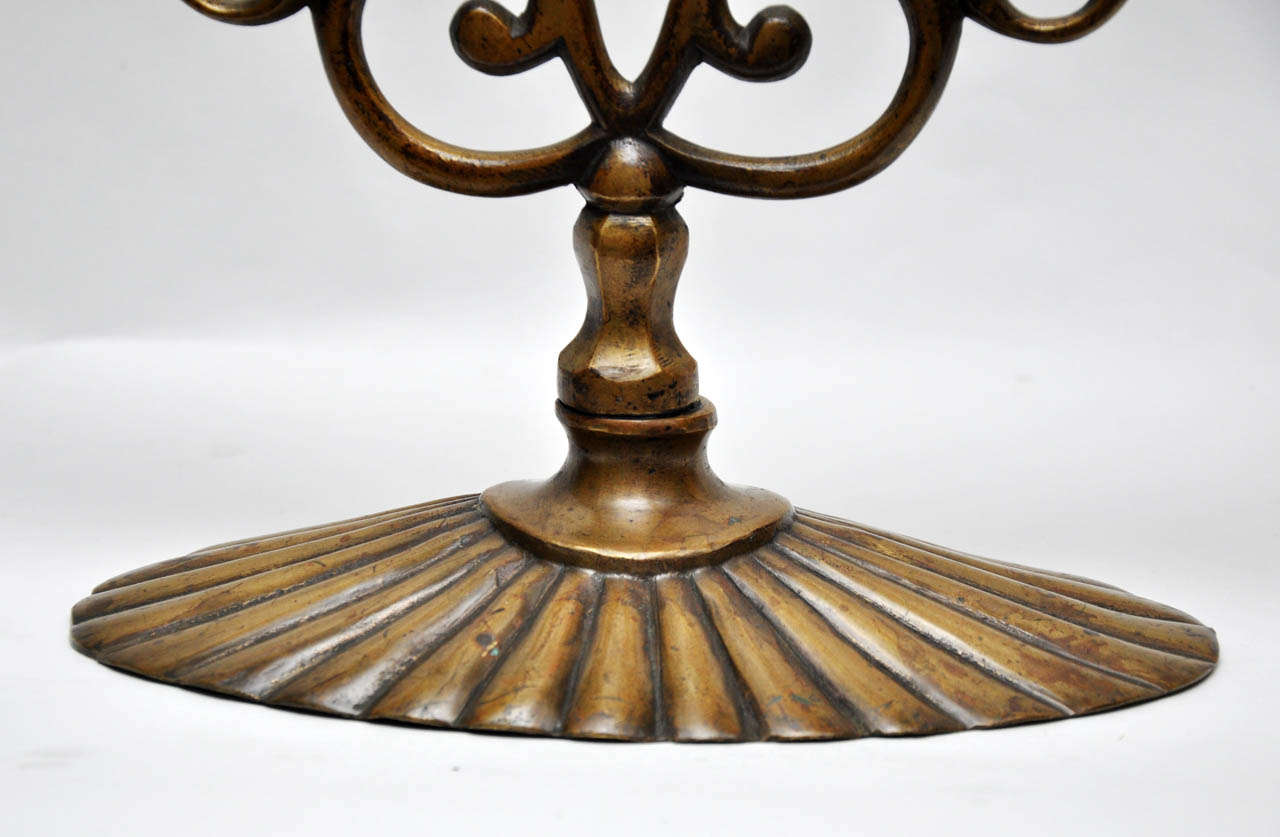 Pair of 19th Century Bronze Synagogue Menorahs For Sale 1