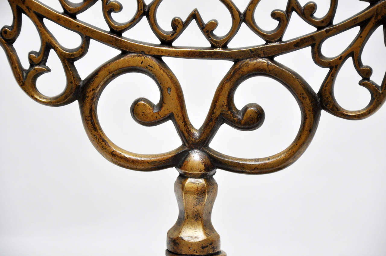 Pair of 19th Century Bronze Synagogue Menorahs For Sale 3