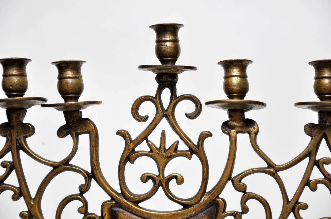 Pair of 19th Century Bronze Synagogue Menorahs For Sale 4