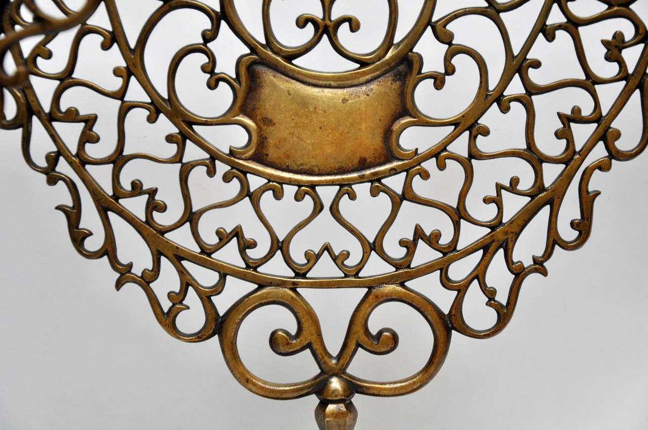 Pair of 19th Century Bronze Synagogue Menorahs For Sale 5
