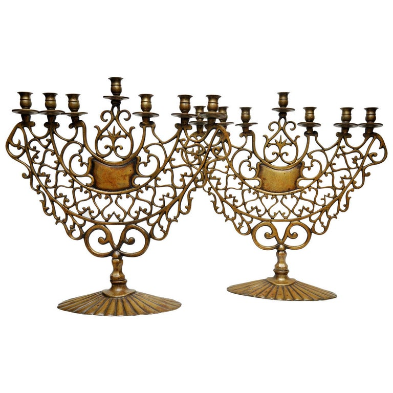 Pair of 19th Century Bronze Synagogue Menorahs For Sale