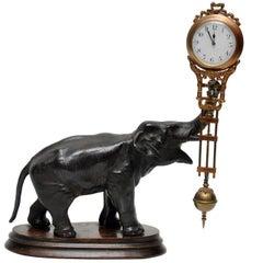 Patinated Bronze Elephant Clock, France, 1880