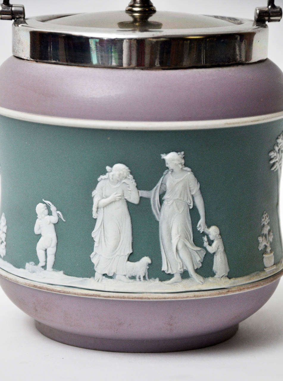 Neoclassical Antique Tri-Color Wedgwood Biscuit Jar For Sale
