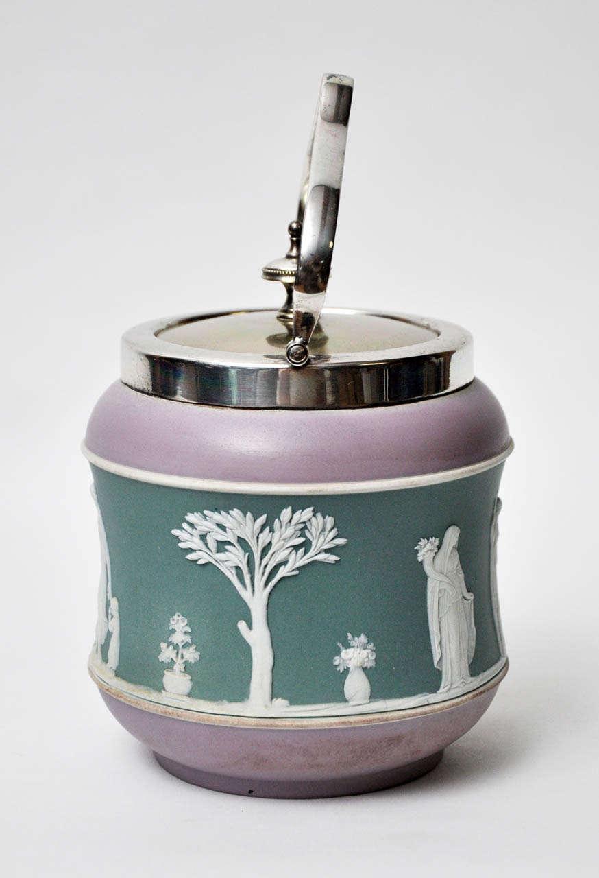 British Antique Tri-Color Wedgwood Biscuit Jar For Sale