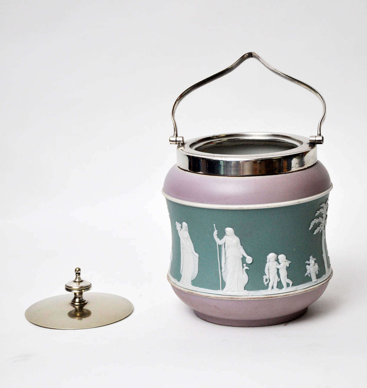 Appliqué Antique Tri-Color Wedgwood Biscuit Jar For Sale