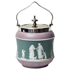 Antique Tri-Color Wedgwood Biscuit Jar