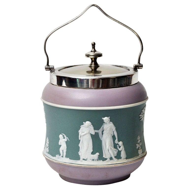 Antique Tri-Color Wedgwood Biscuit Jar For Sale
