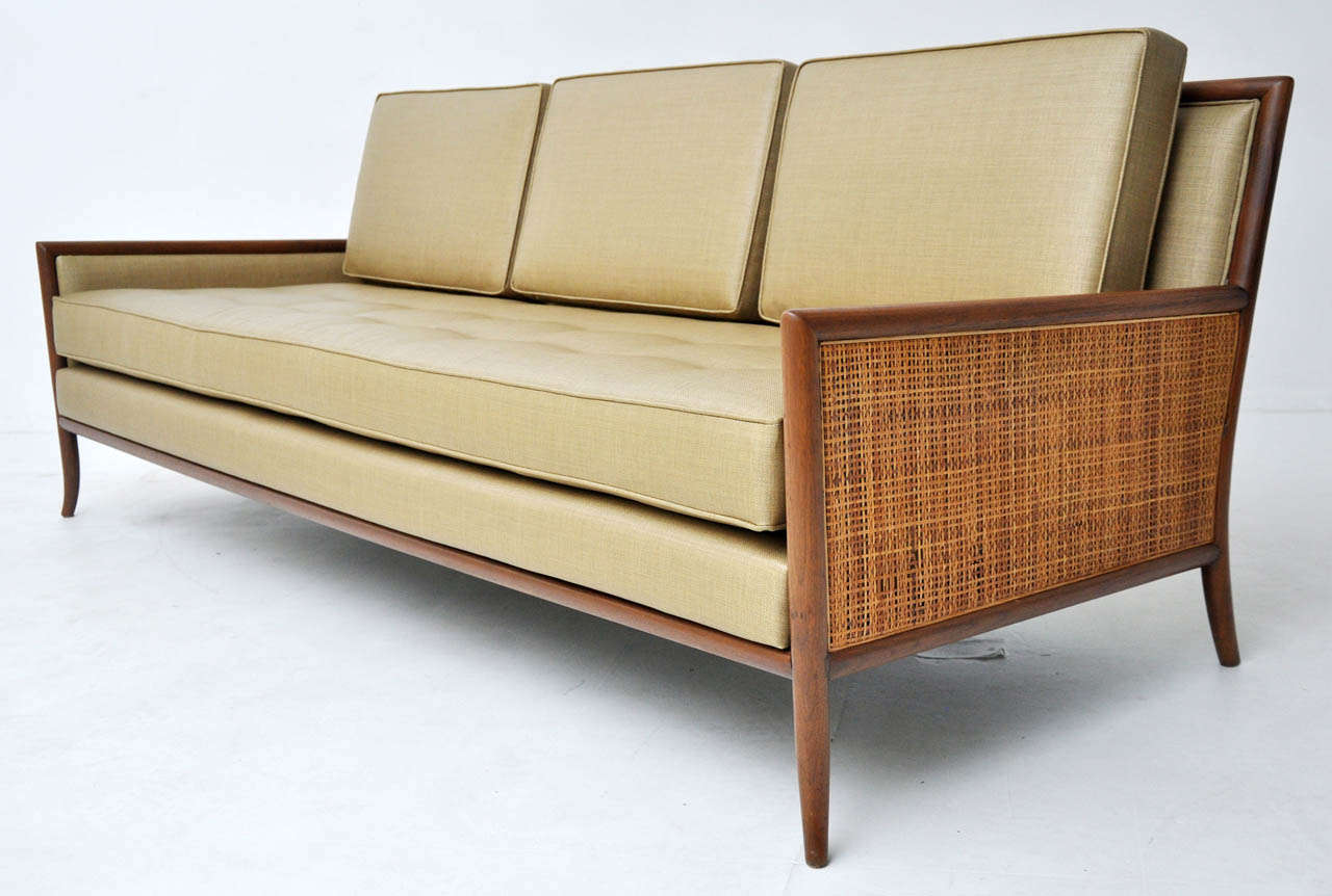 Mid Century Cane Arm Sofa At 1stdibs