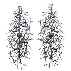 Pair of Custom Lou Blass Pendant Angular Momentum Chandeliers, Made in the USA