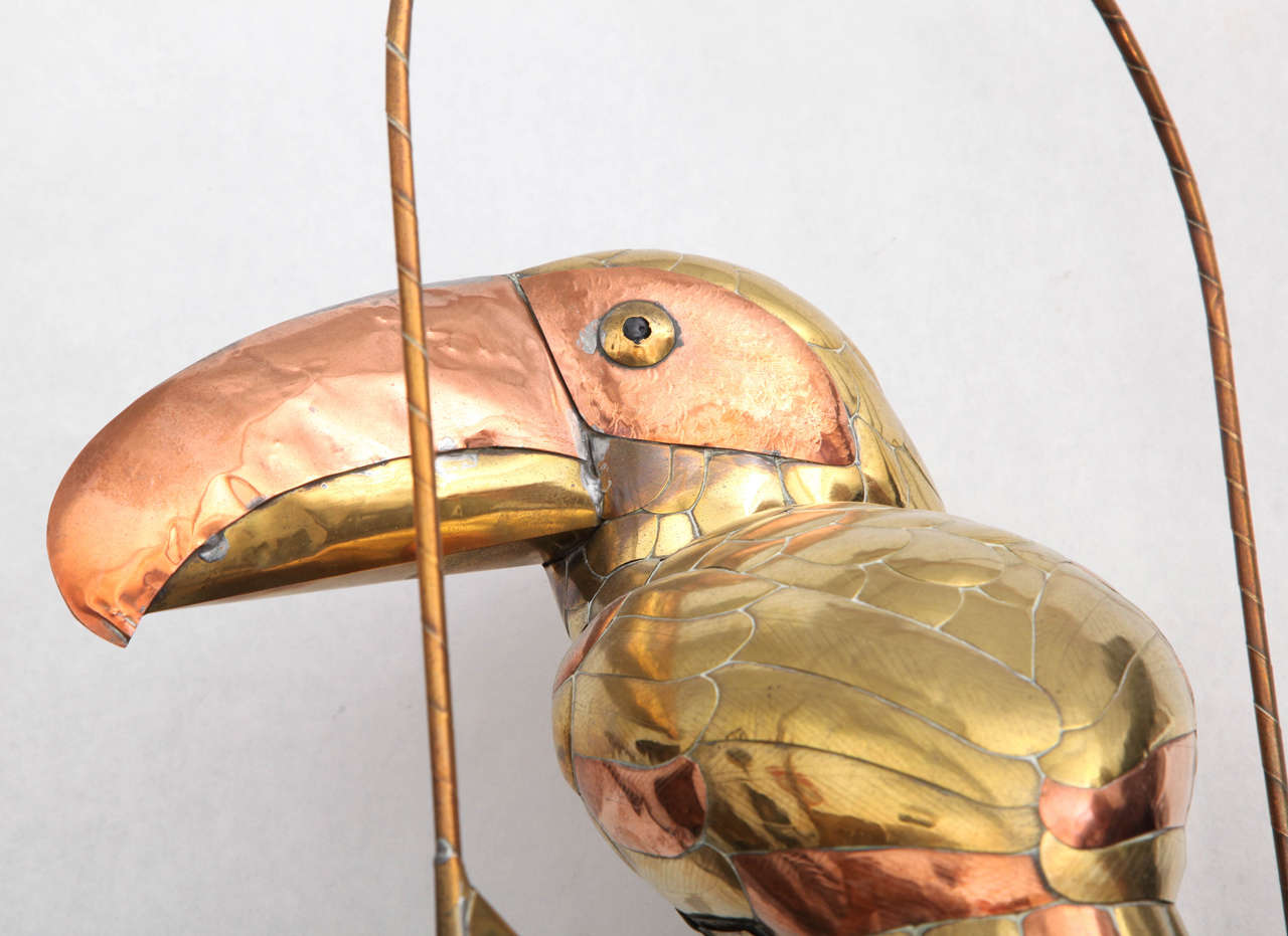 Sergio Bustamante Sculpture of Toucan on Hanging Perch In Excellent Condition For Sale In New York, NY