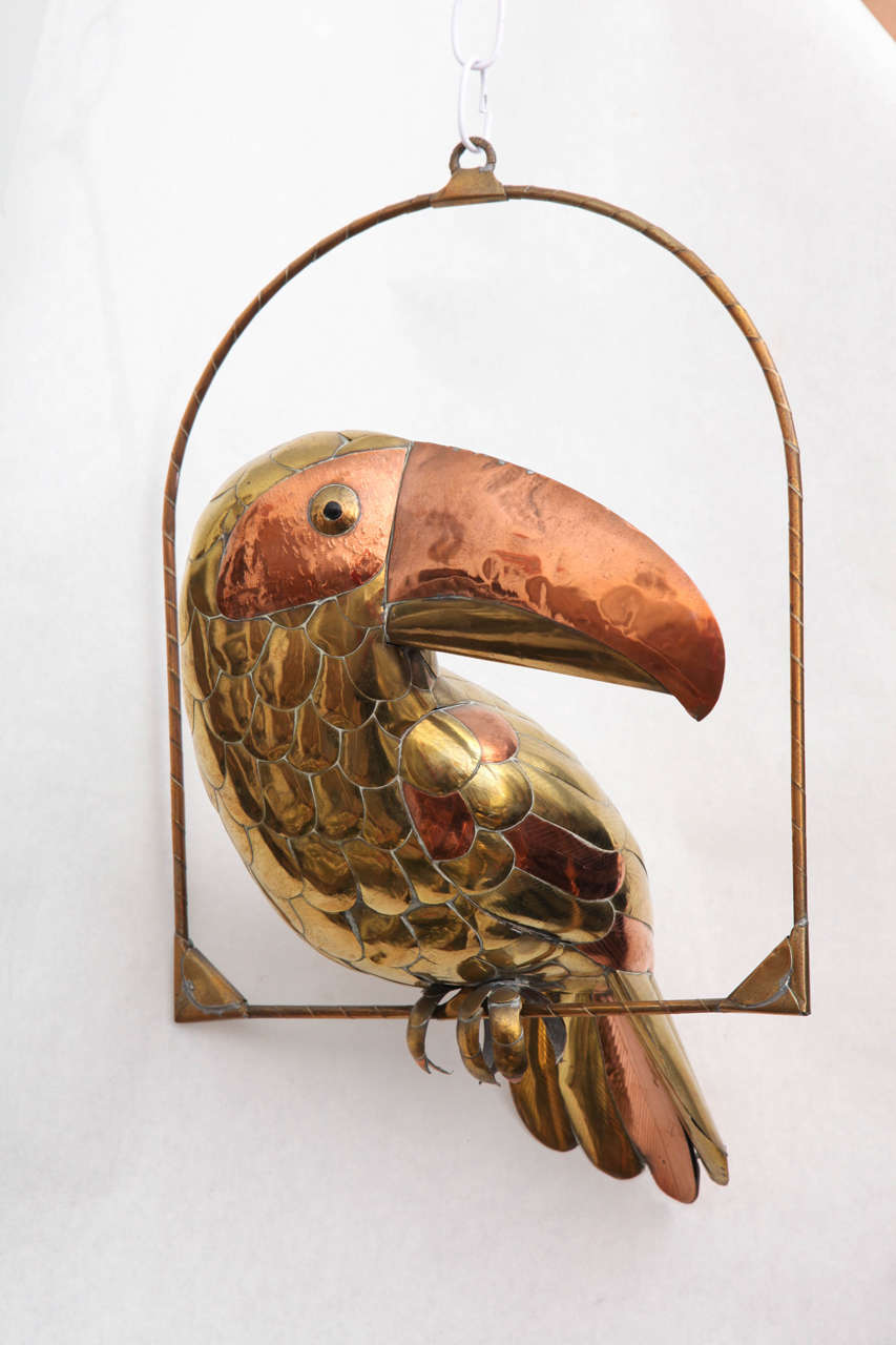 Late 20th Century Sergio Bustamante Sculpture of Toucan on Hanging Perch For Sale