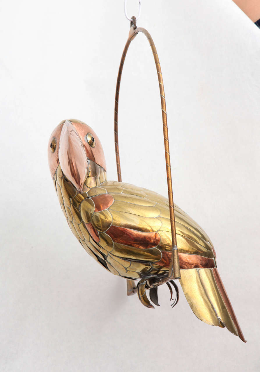 Brass Sergio Bustamante Sculpture of Toucan on Hanging Perch For Sale