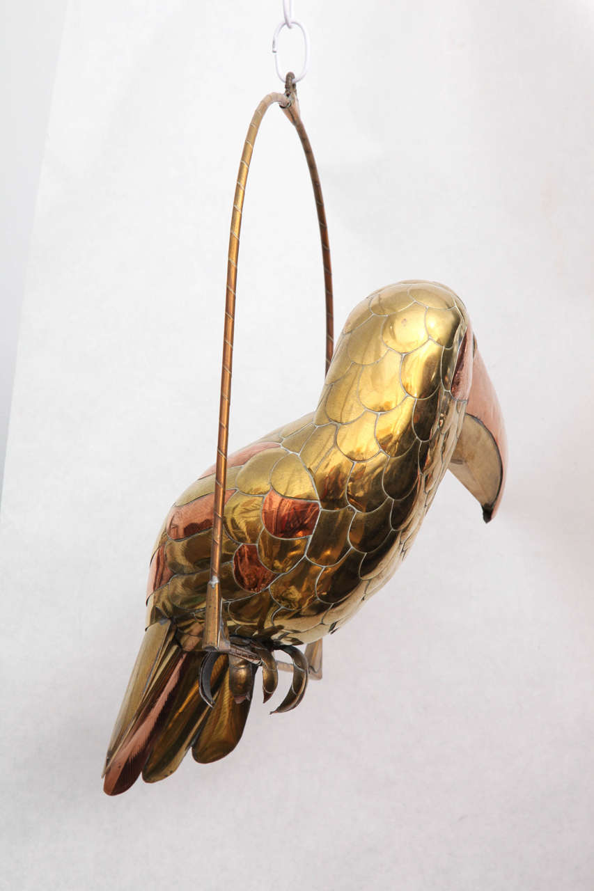 Sergio Bustamante Sculpture of Toucan on Hanging Perch For Sale 1