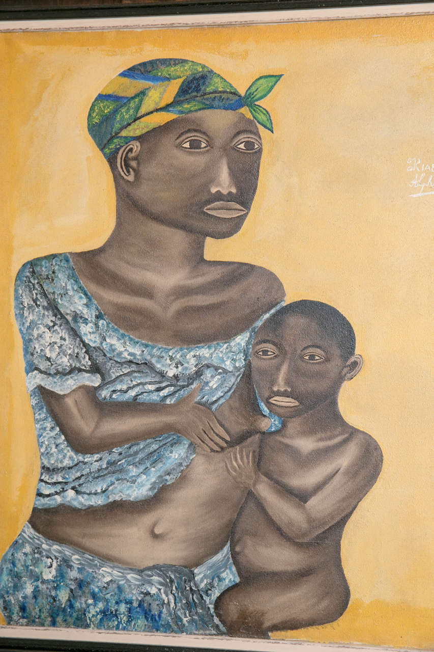 Sahrawi 20th Century Oil on Canvas, Mother and Child For Sale
