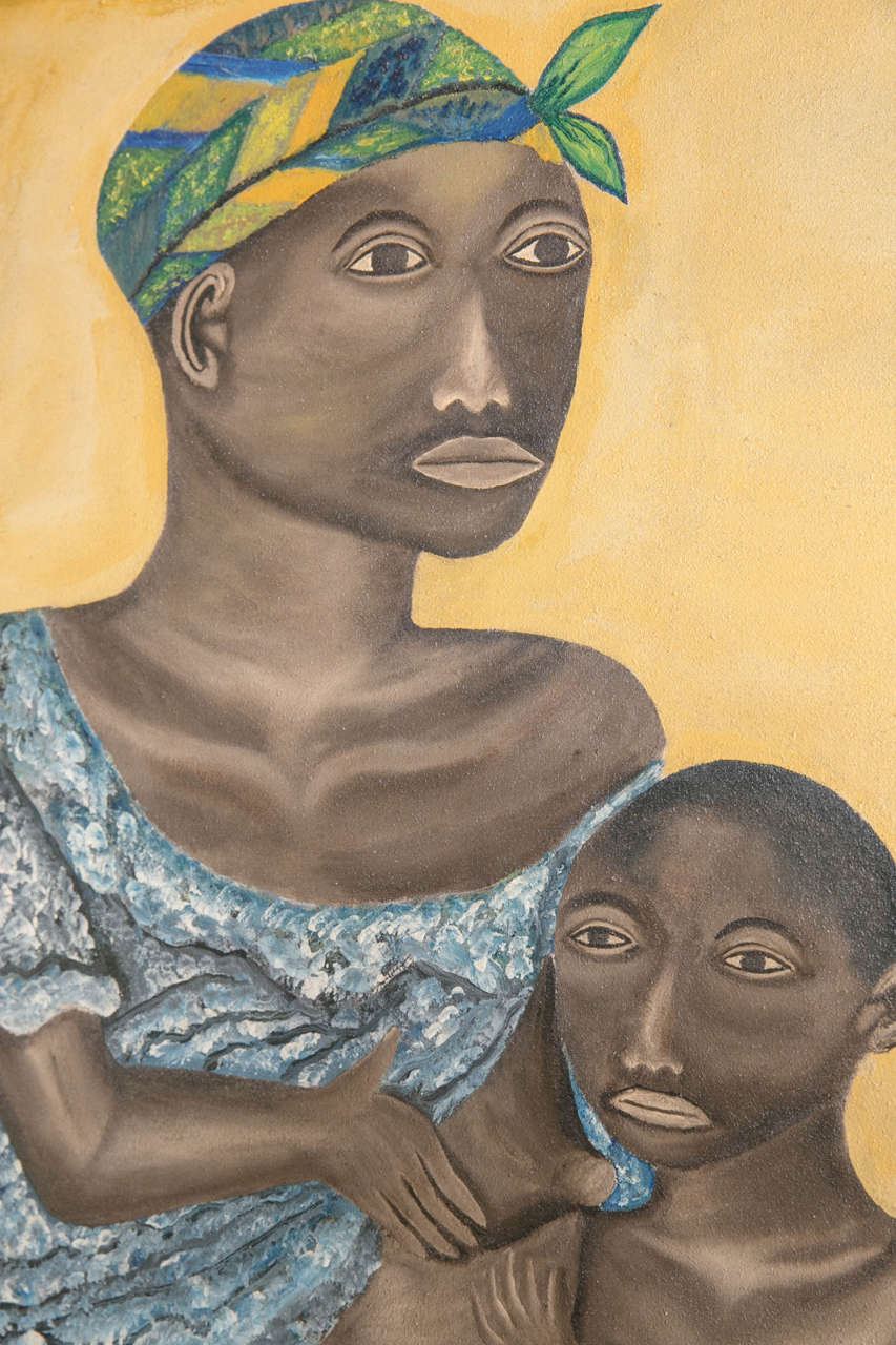 20th Century Oil on Canvas, Mother and Child For Sale 1