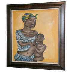 20th Century Oil on Canvas, Mother and Child