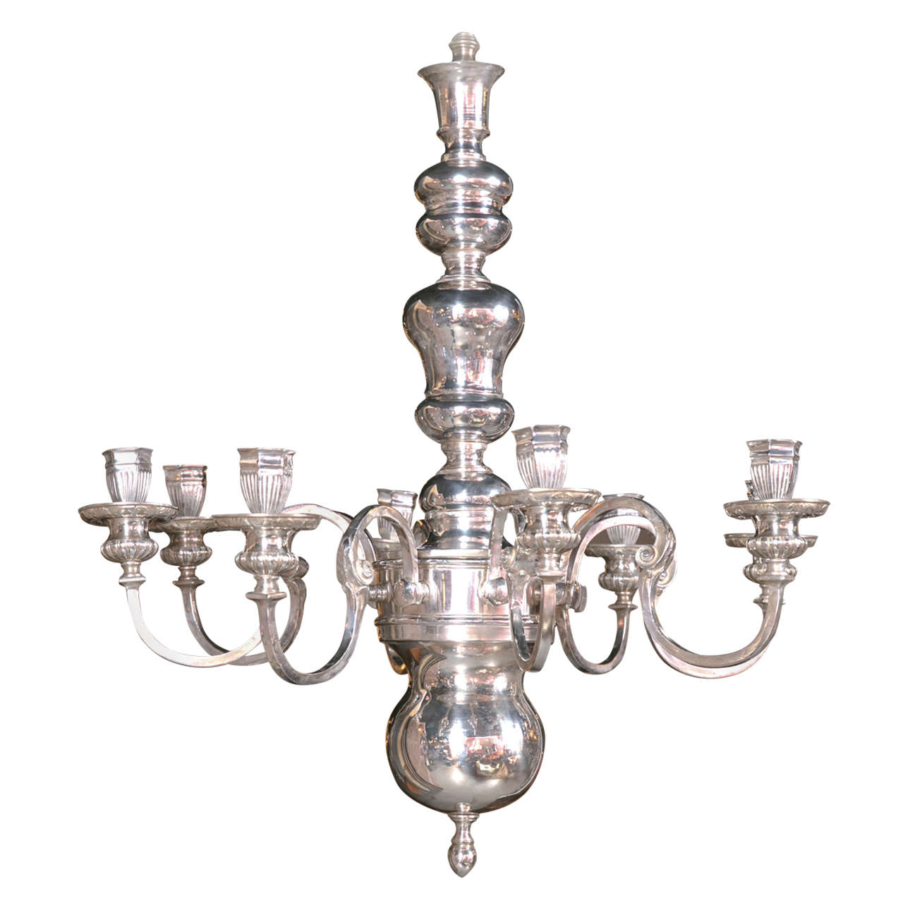 Caldwell Silver Plated, Eight-Light Chandelier